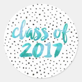 Sticker Rond Obtention du diplôme de l'aquarelle   de turquoise