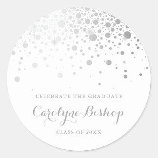 Sticker Rond Obtention du diplôme personnalisée par confettis