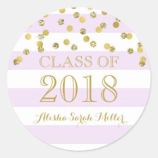 Sticker Rond Obtention du diplôme pourpre 2018 de confettis