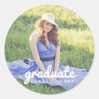 Sticker Rond Obtention du diplôme simple mignonne de photo