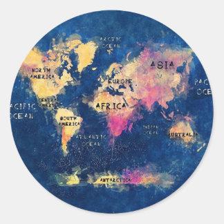 Sticker Rond OCÉANS et continents de carte du monde