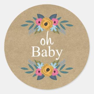 Sticker Rond Oh bébé ! Baby shower floral rustique de guirlande