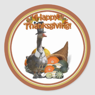 Sticker Rond Oie de pèlerin de thanksgiving
