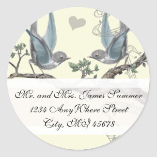 Sticker Rond Oiseau bleu vintage épousant l'adresse de retour