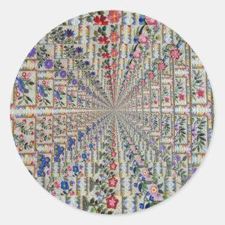 Sticker Rond Oiseaux et fleurs de motif de broderie