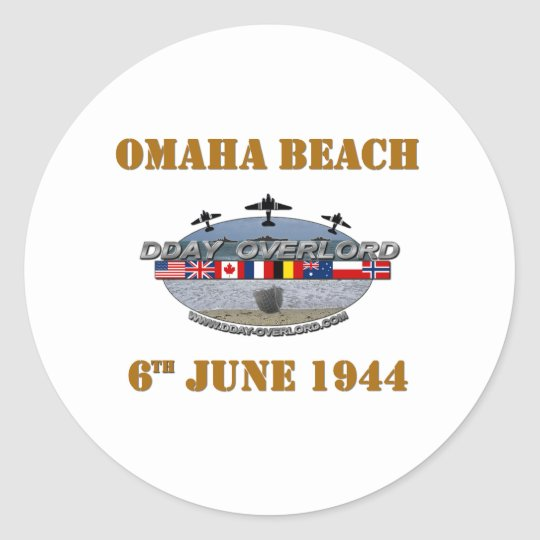 Sticker Rond Omaha Beach 6th June 1944