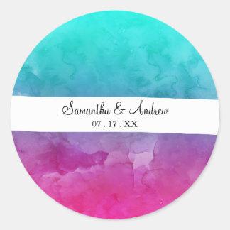 Sticker Rond Ombre lumineux moderne d'aquarelle de rose de