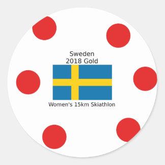Sticker Rond Or 2018 de la Suède - 15km Skiathlon des femmes