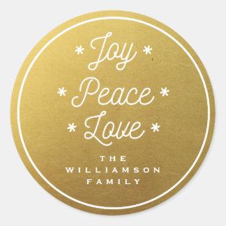 Sticker Rond Or à la mode Main-En lettres de joie d'amour