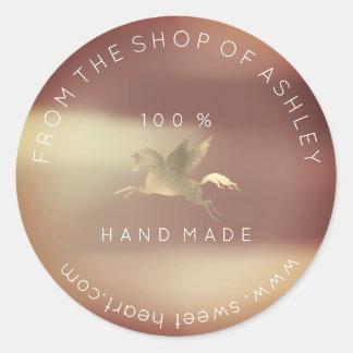 Sticker Rond Or de cuivre rose de Pegasus de logo de Web fait