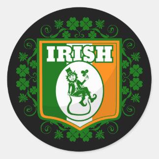 Sticker Rond Or de lutin de Jour de la Saint Patrick