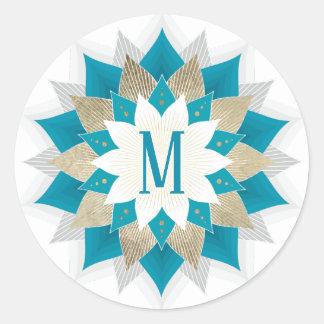 Sticker Rond Or de monogramme et élégant floral turquoise de