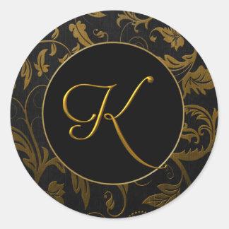 Sticker Rond Or du monogramme K et joint noir de mariage