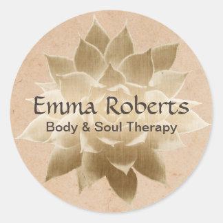 Sticker Rond Or élégant Lotus de thérapie vintage de massage