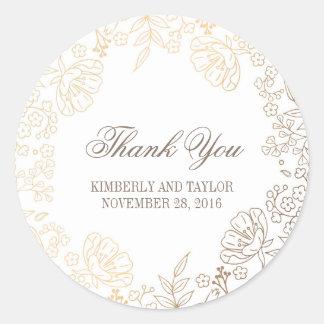Sticker Rond Or et Merci vintage floral blanc de mariage