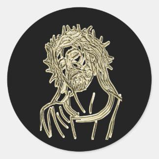 Sticker Rond Or Jésus recherchant à un dieu miroitant