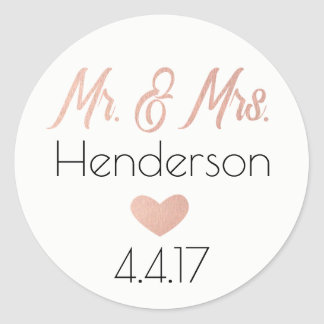 Sticker Rond Or, M. et Mme roses Stickers- Wedding Favors