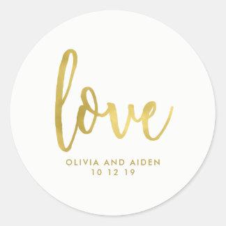 Sticker Rond Or moderne de Faux sur le mariage blanc
