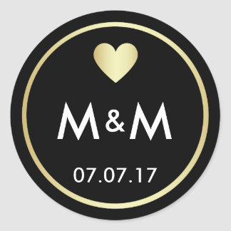 Sticker Rond Or noir élégant personnalisé et mariage de coeur