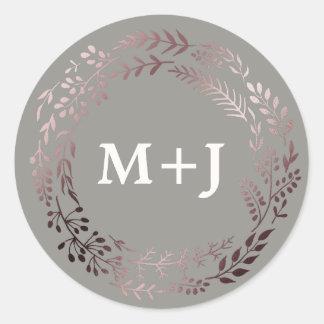 Sticker Rond Or rose élégant et joints gris d'enveloppe de