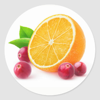 Sticker Rond Orange et canneberges