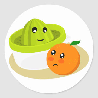Sticker Rond Orange Juice (Orange and Squeezer)