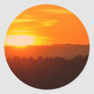 Sticker Rond Orange orange Sun de ciel de Hollywood Los Angeles
