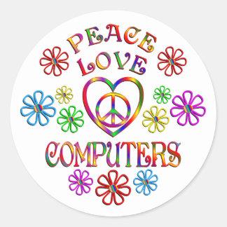 Sticker Rond Ordinateurs d'amour de paix