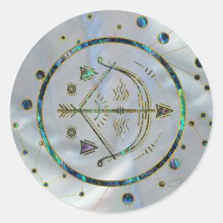 Sticker Rond Ormeau d'or de zodiaque de Sagittaire sur la