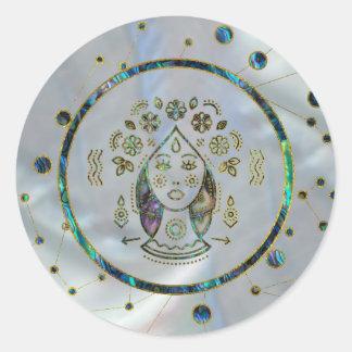 Sticker Rond Ormeau d'or de zodiaque de Vierge sur la