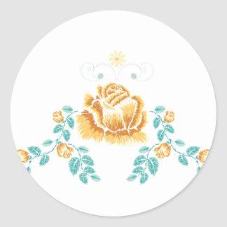 Sticker Rond Ornement de rose jaune de broderie
