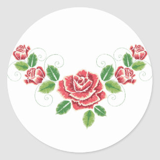 Sticker Rond Ornement de rose rouge de broderie