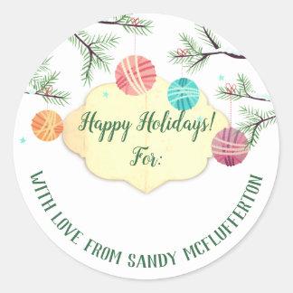 Sticker Rond Ornements de fil tricotant l'autocollant de Noël