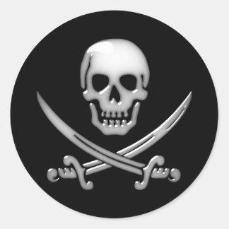 Sticker Rond Os croisés vitreux de crâne et d'épée de pirate