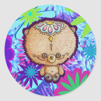 Sticker Rond Ours de hippie