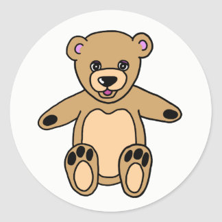Sticker Rond Ours de nounours mignon de Brown