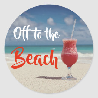 Sticker Rond Outre de à la belle plage