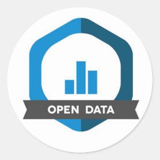 Sticker Rond Ouvrez l'insigne d'autocollant de données