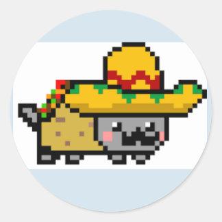 Sticker Rond Page d'autocollant de chat de Nyan de Mexicain de