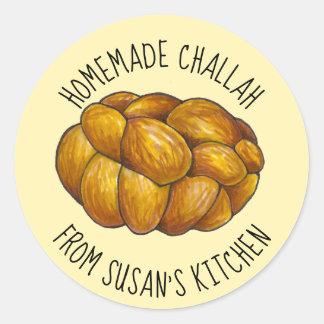 Sticker Rond Pain du sabbat fait maison personnalisé cuit au