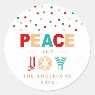 Sticker Rond Paix et Noël coloré moderne de confettis de JOIE