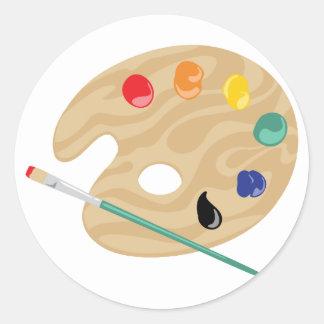 Sticker Rond Palette de peintres