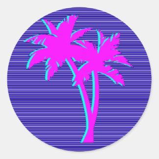 Sticker Rond Palmier au néon