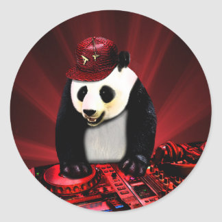 Sticker Rond Panda de disc-jockey