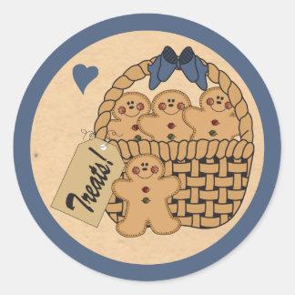 Sticker Rond Panier de festin de pain d'épice