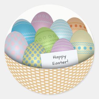 Sticker Rond Panier de Pâques avec l'autocollant rond coloré