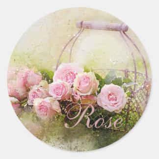 Sticker Rond Panier de rose de rose