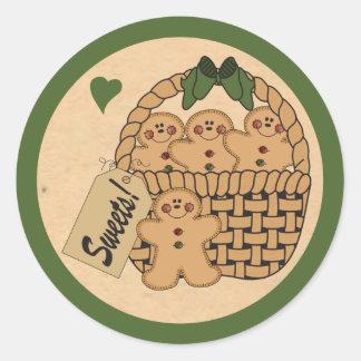 Sticker Rond Panier de vert des bonhommes en pain d'épice |