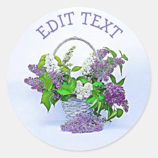 Sticker Rond Panier pourpre personnalisé de lilas