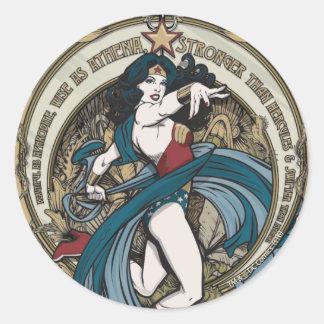 Sticker Rond Panneau de Nouveau d'art de femme de merveille